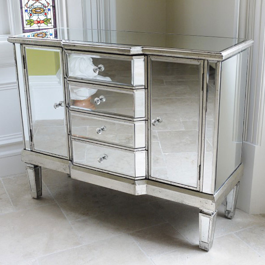 venetian style mirrored sideboard chest of drawers uk candle and blue. Black Bedroom Furniture Sets. Home Design Ideas