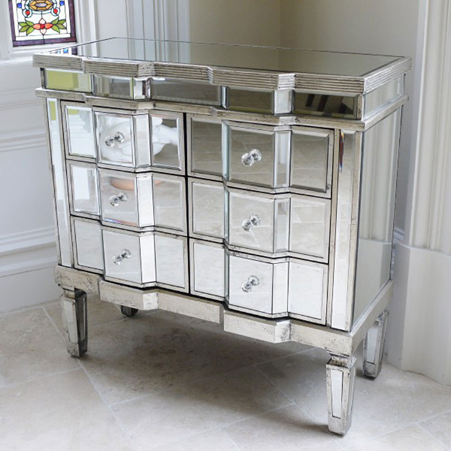 Venetian Style Mirrored Chest Of Drawers Storage Uk