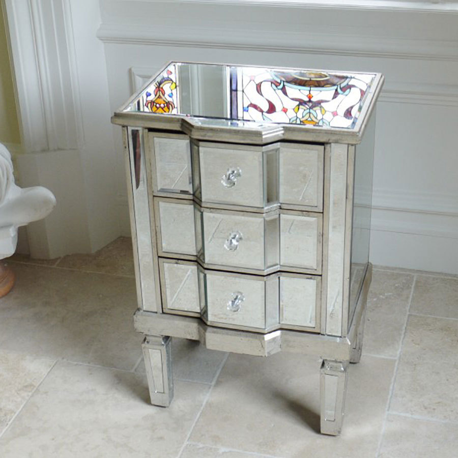 Venetian style side table uk mirrored bedside table for Mirror bedside table