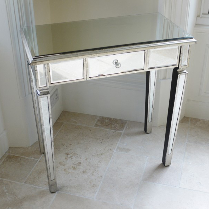 Mirrored bedside dressing table mirrored furniture for Mirror bedside table
