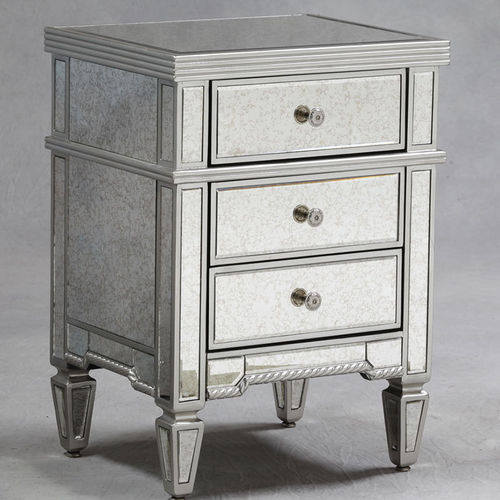 Small Mirrored Bedside Table Silver Finish