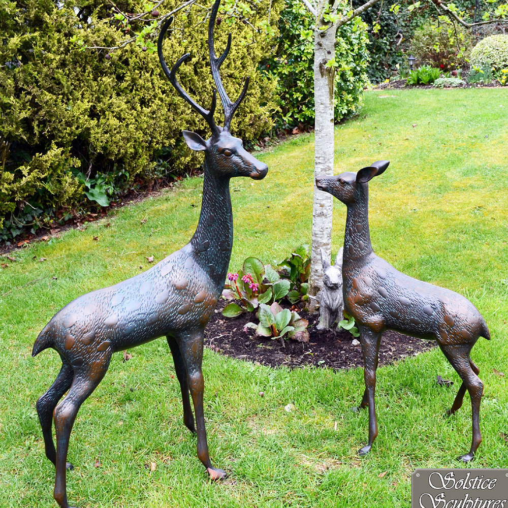 Metal Gaden Stag Sculptures Stag And Doe Ornaments