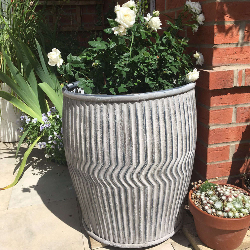 Large Zinc Plant Pot Holder For Garden Dolly Tub Candle And Blue