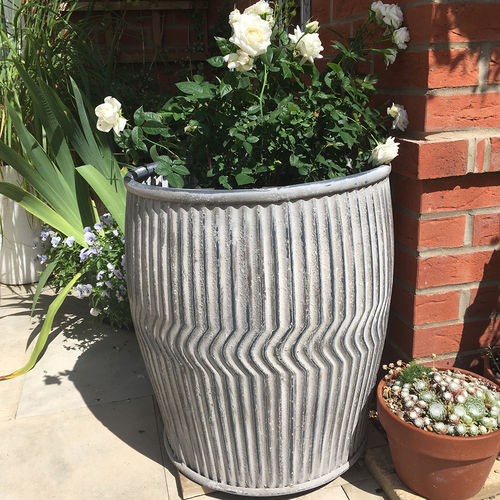 Galvanised Plant Pot Holder For Garden Dolly Tub