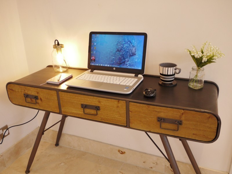 industrial style office desk. Retro Industrial Style Office Metal And Wood Desk