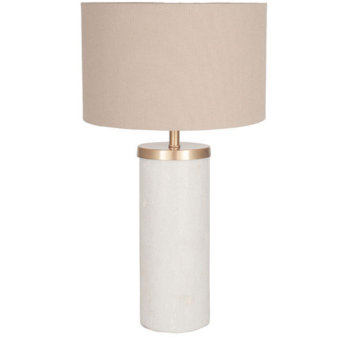 Tall Solid Marble Table Lamp & Taupe Shade