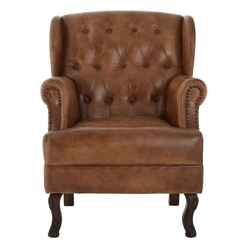 Brown Leather Accent Armchair Tan