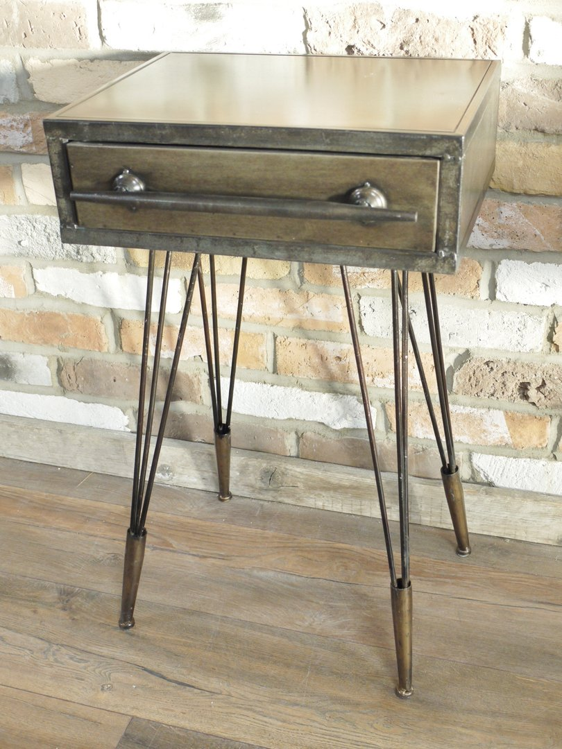 Wood And Metal Bedside Table: Retro StyleBedside End Table Drawer