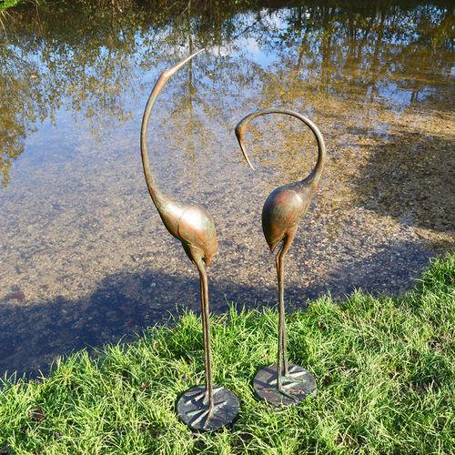garden cranes. Pair Of Elegant Metal Garden Cranes Sculptures