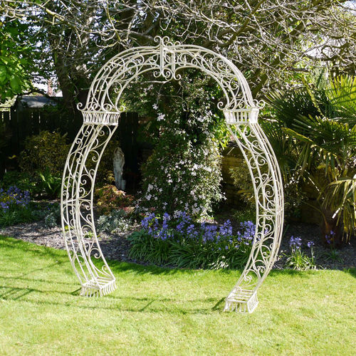 Scrolled Aged Cream Rose Garden Arch