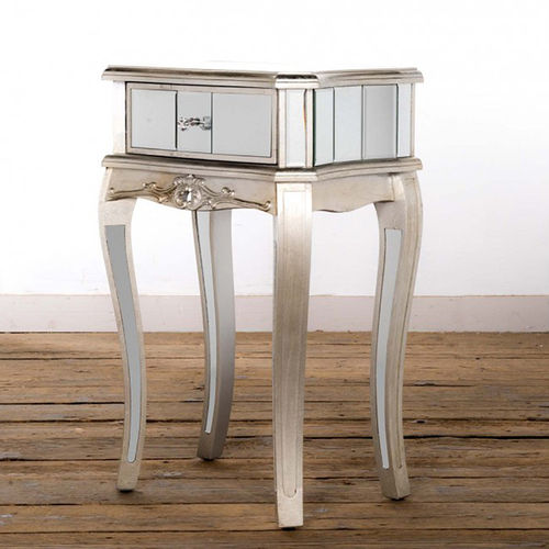 Arabella Single Drawer Mirrored Side Table