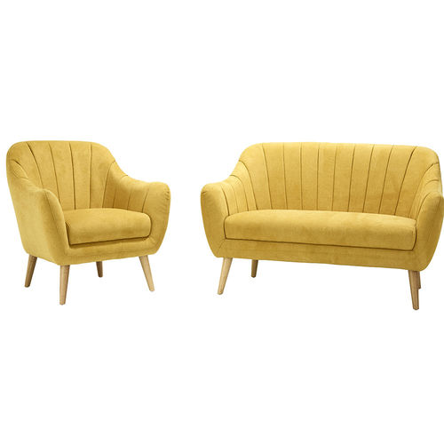 Upholstered Sofa And Chair Set Yellow