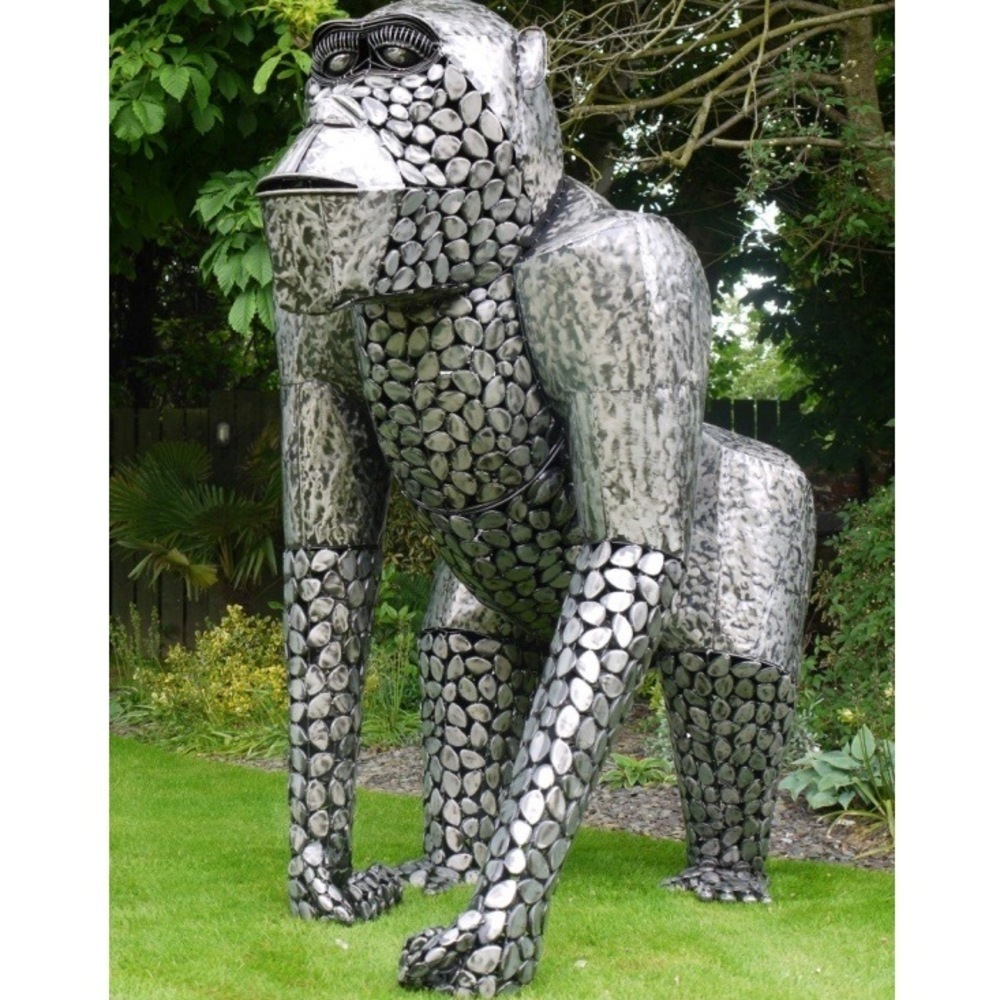 Life Size Silver Metal Garden Gorilla Statue Candle And Blue