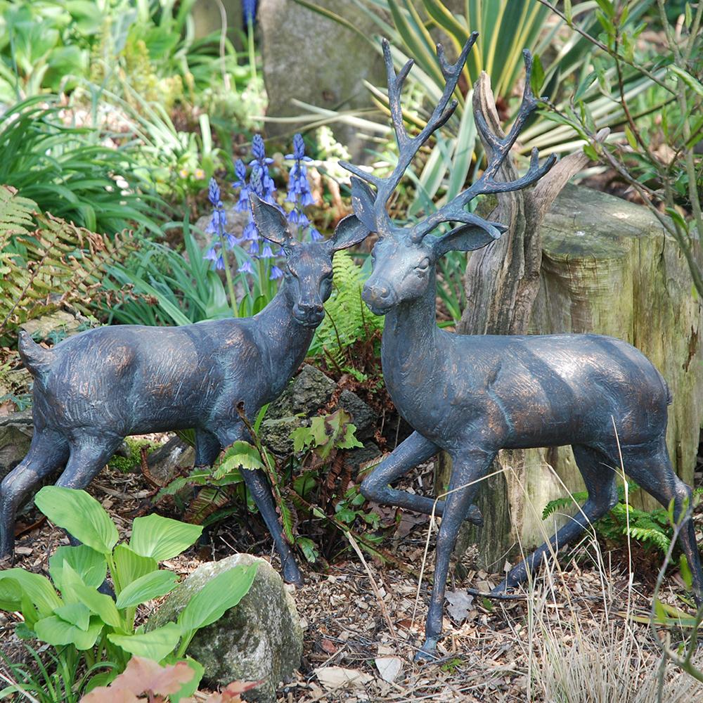 Standing Stag Bronze Effect Garden Deer Statues Candle