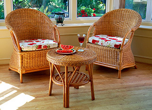 Cane-Conservatory-Tub-Chair-and-Table-with-shelf-in-Candy-brown