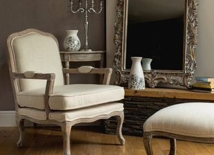 Rococ_style_armchair_and_footstool_cream_finish