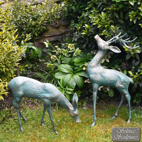 Small Standing Stag and Doe Sculptures