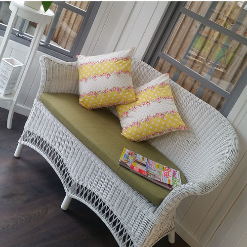 White Wicker Loom Style Conservatory Sofa