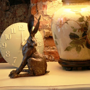 Paul Jenkins Bronze Hare Alert Sculpture