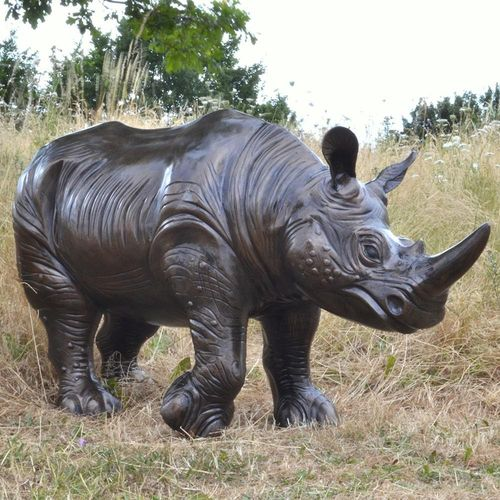 Baby Rhino Metal Garden Sculpture