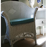 White Wicker Loom Style Cane Chair