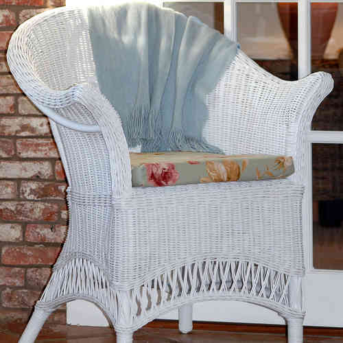 White Wicker Loom Style Chair