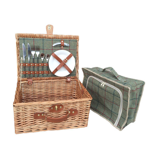 Green Tweed 2 Person Picnic Willow Hamper