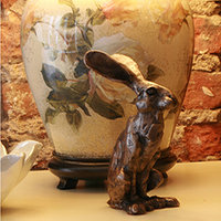 Paul Jenkins Bronze Hare & Cat Sculptures