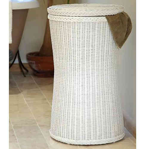 Tall White Wicker Laundry Basket Lid