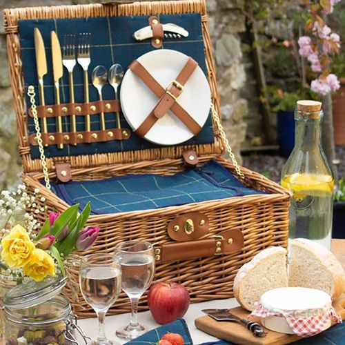 Blue Tartan Willow Picnic Hamper 2 Person