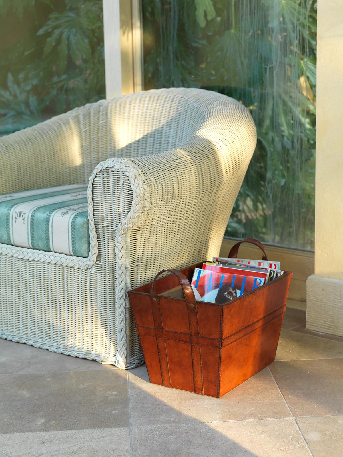 Leather Magazine Baskets Holder Leather Storage Basket