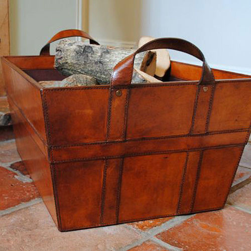 Leather Log and Wood Storage Basket