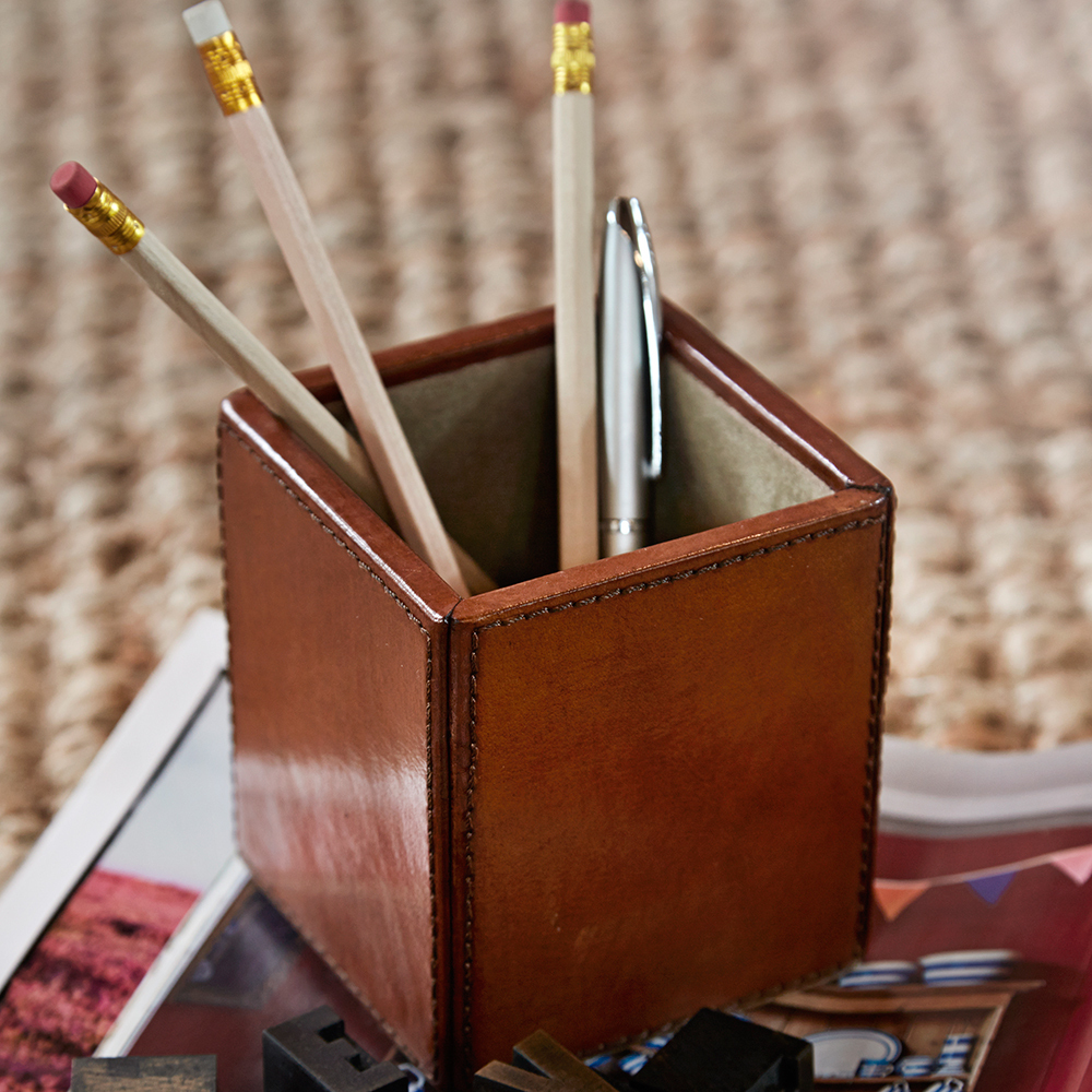 Leather Pen Pot Holder Leather Pen And Pencil Holder Candle And Blue