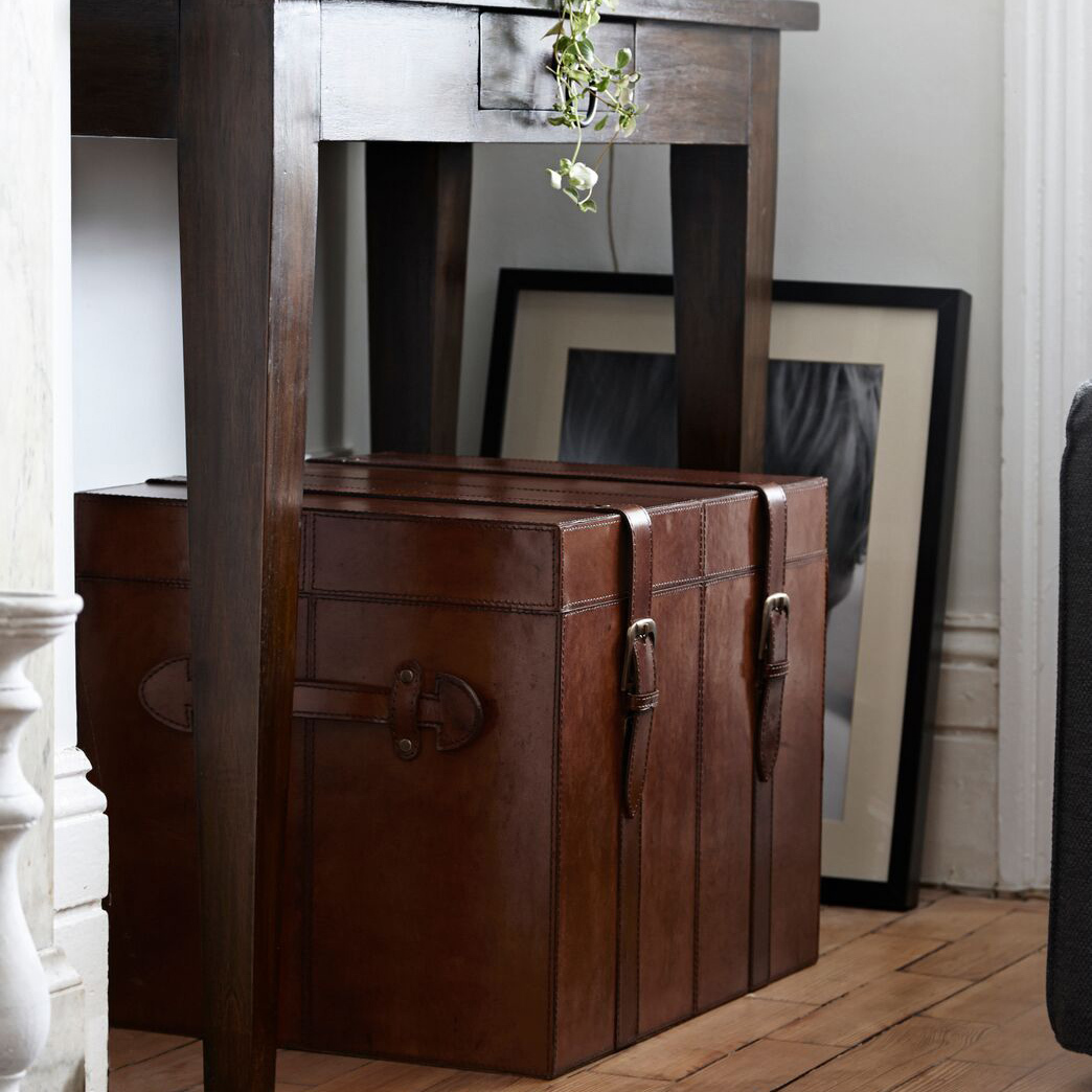 Leather Storage Chest Antique Leather Storage Trunk