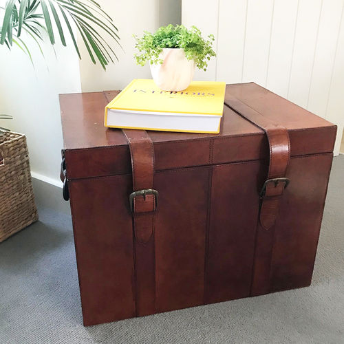 Real Leather Trunk Large