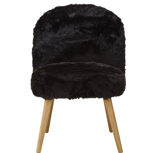 Chair Black Faux Fur Henry