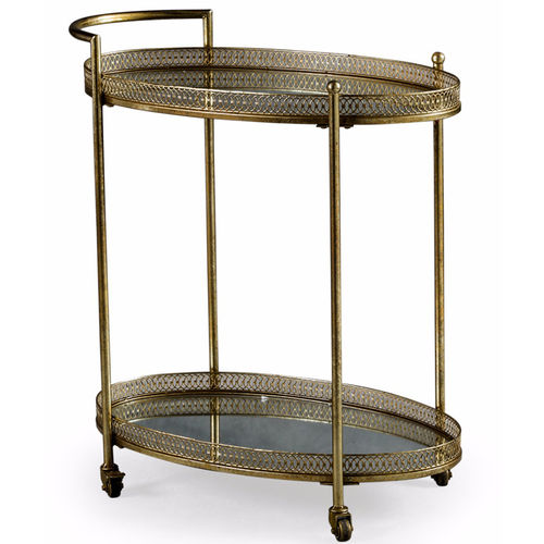 Gold Metal Drinks Tea Serving Trolley