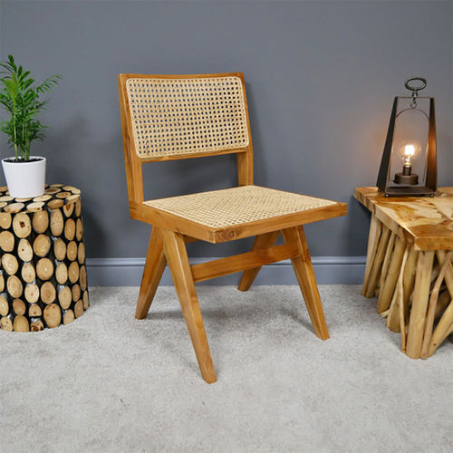 Light Teak Woven Rattan Occasional Chair