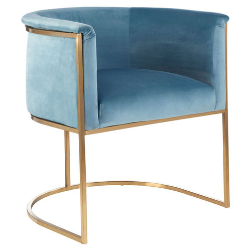Occasional Blue Velvet Accent Armchair