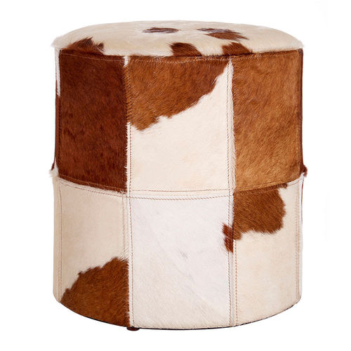Genuine Cowhide Brown White Ottoman