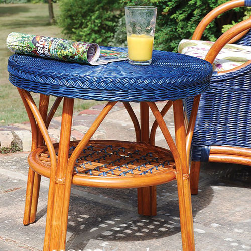 Small Low Round Blue Cane Conservatory Table