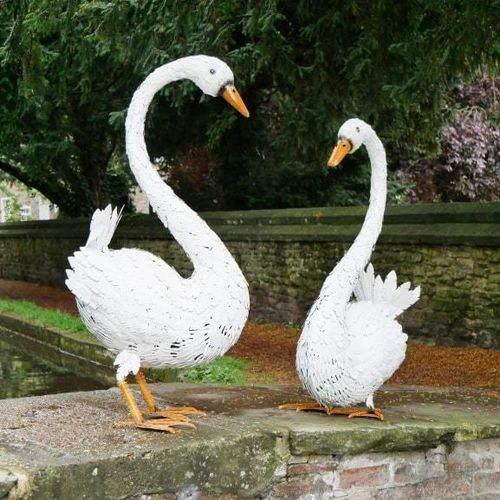Pair of Beautiful Swans Garden Sculptures