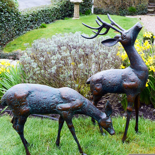 Dark verdigris Pair of Small Deer Garden Sculptures