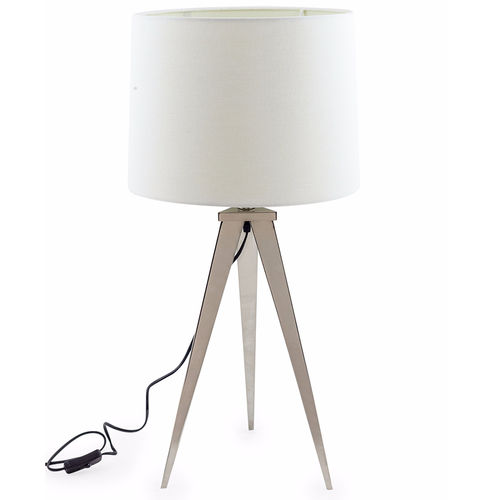 Alicia Designer Chrome Tripod Table Lamp