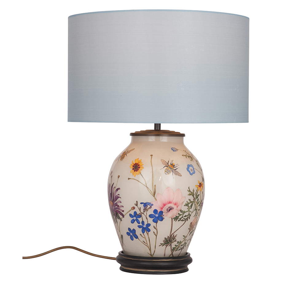 Jenny Worrall Jw77 Rhs Table Lamps Wildflower Candle And Blue