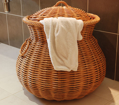Large Wicker Laundry Basket Brown