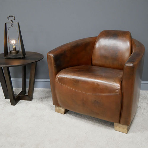 Vintage Style Brown Leather Cigar Armchair