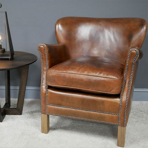 Small Real Leather Tan Armchair
