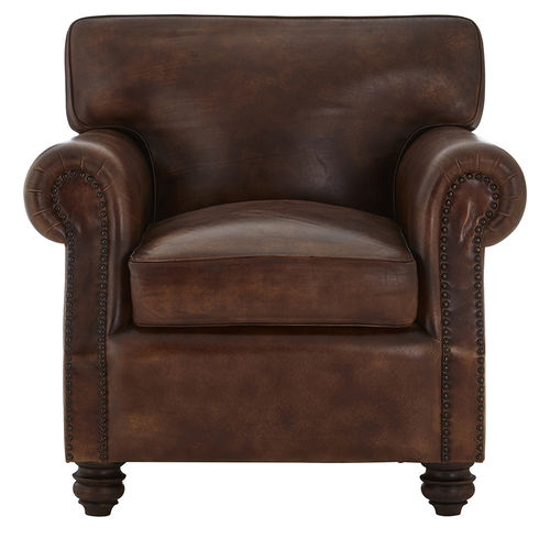 Vintage Style Brown Leather Lounge Chair