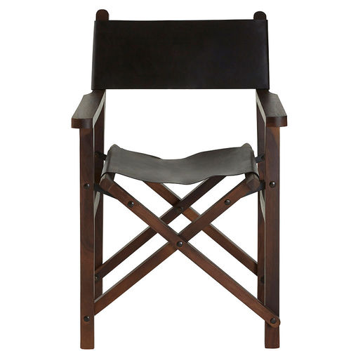 Black Leather Directors Folding Chair